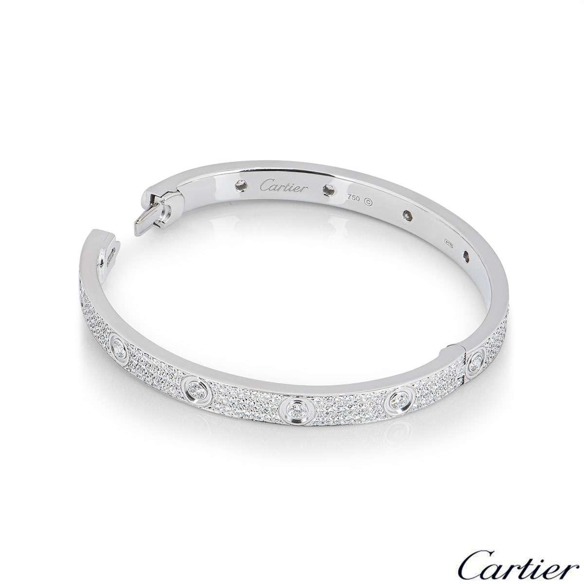 Cartier White Gold Pave Diamond Love Bracelet Size 17 N6033602